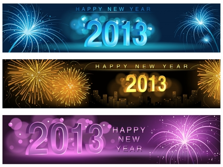 New Year Banner Set - Fireworks Background Illustration Vector