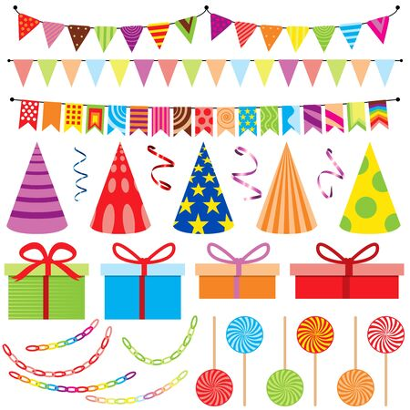 birthday hat: Set of Vector Party Decoration - Design Elements