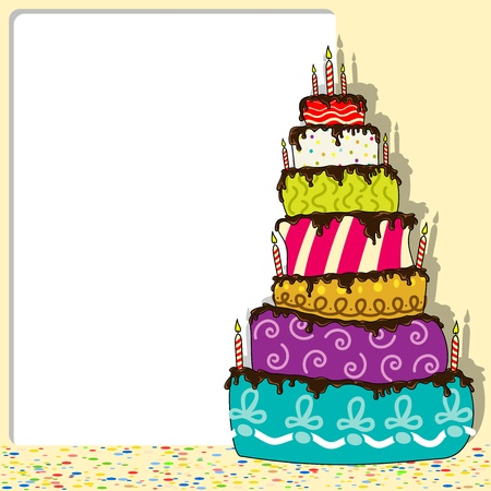 birthday food: Birthday Cake - Celebration Background Illustration Illustration