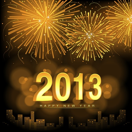 Happy New Year - Fireworks Background Illustration Stock Vector - 15847658