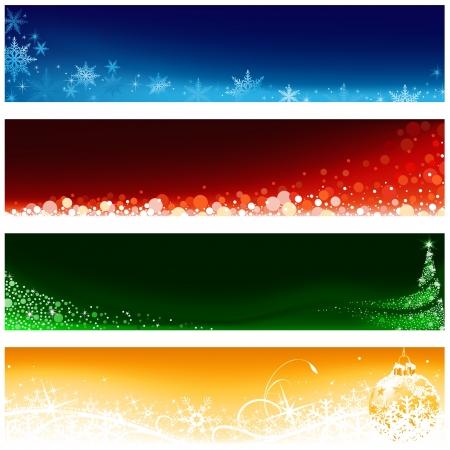 kârlı: Noel Banner Seti - Noel İllüstrasyon, vektör