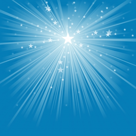 blue ray: Light Rays and Stars - Abstract Background Illustration