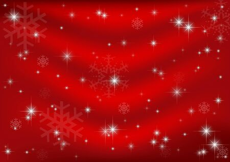 Red Christmas Background with Stars and Snowflakes Vector