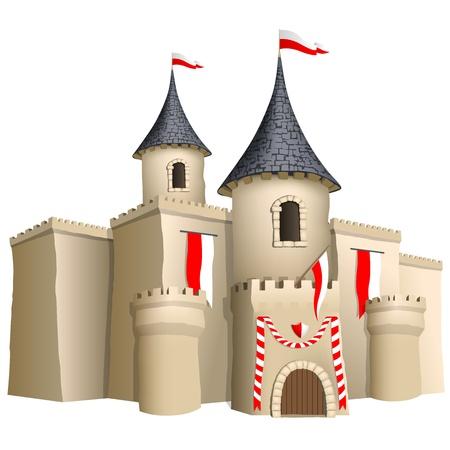 castello medievale: Fiabesco castello Vettoriali