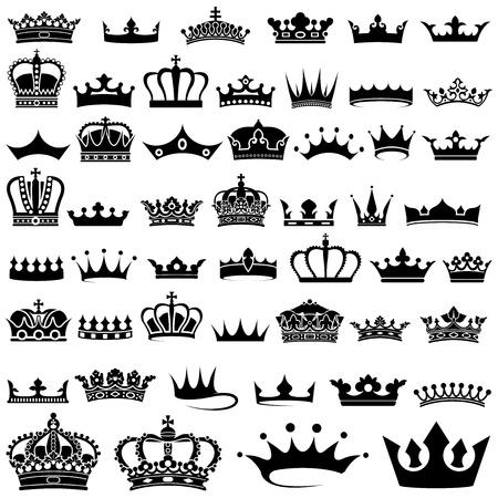 nobile: Corona progettazione Set - 50 illustrazioni, vettore