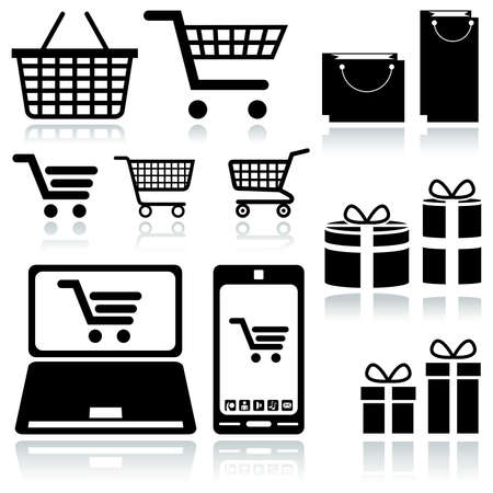Shopping Cart Sign - Set of Black Icons Stock Vector - 19334699