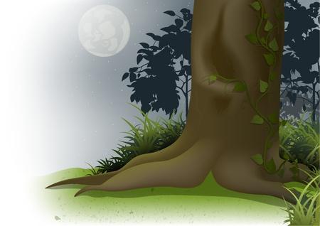 Night Scene - Cartoon Background Illustration Vector
