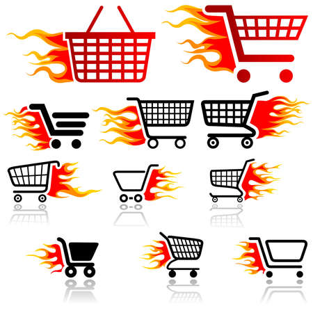 Shopping Cart Sign - Set of Icons Stock Vector - 19550060