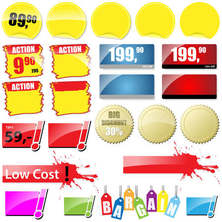 save button: Shopping Tags Collection - Vector Elements