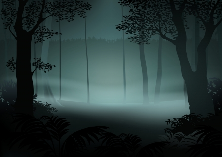fog forest: Dark Forest - Cartoon Illustration