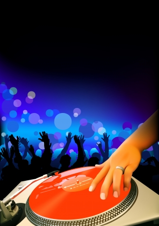 DJ And Audience - Dance Party Background Illustration