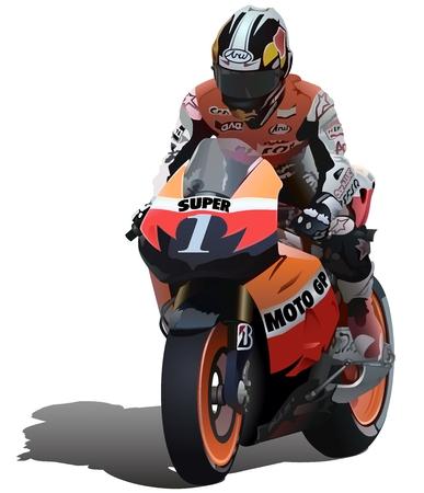 motor racing: Superbike y Biker - Ilustraci�n vectorial detallada
