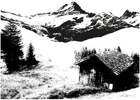 Mountain Landscape - Black Illustration, Vector