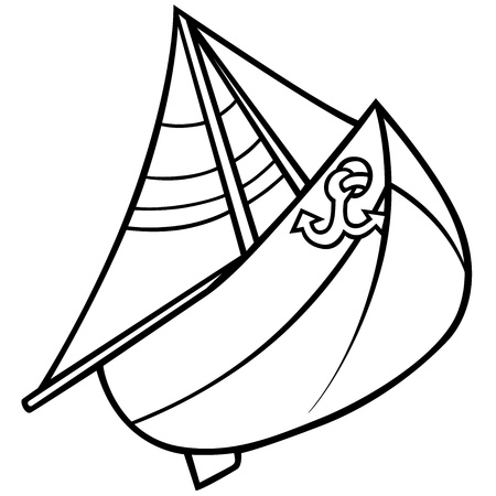 Sailboat - Black and White Cartoon Illustration, Vector Vector