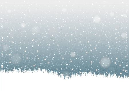 snowflake background: Falling Snow and Forest Silhouette - Background Illustration, Vector