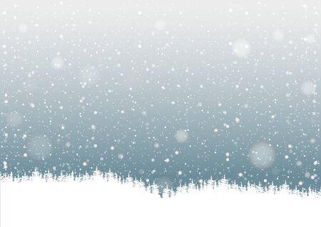 neige qui tombe: Falling Snow et Silhouette Forêt - Contexte Illustration, vecteur Illustration
