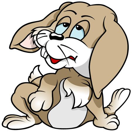 is troubled: Tired Rabbit - Colored Cartoon Illustration, Vector Illustration