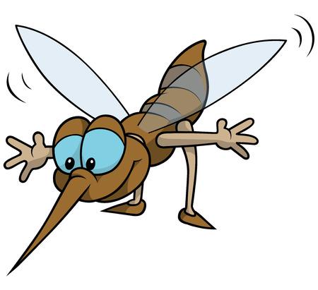 Flying Mosquito - Cheerful Cartoon Illustration, Vector