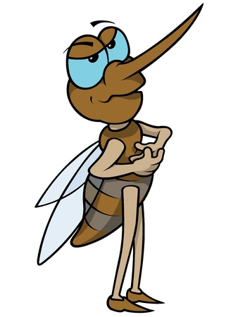 long legged: Mosquito - Colored Cartoon Illustration,