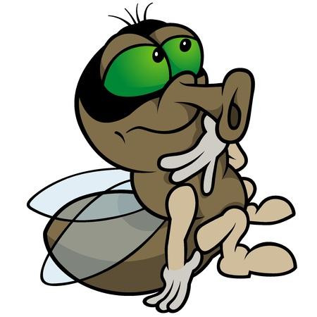 Sitting Fly - Colored Cartoon Illustration,