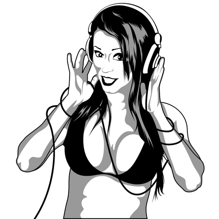 dee jay: Girl With Headphones - Black And White Drawing Picture