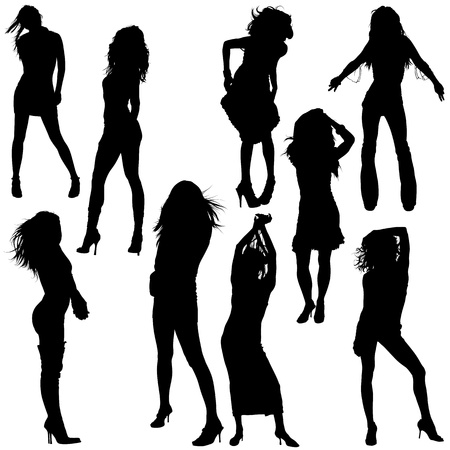 back lit: Dancing Girls - Black Silhouettes, Vector
