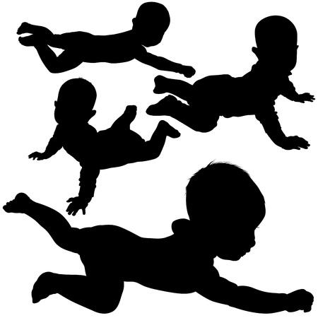 creeping: Creeping Baby - Black Silhouettes