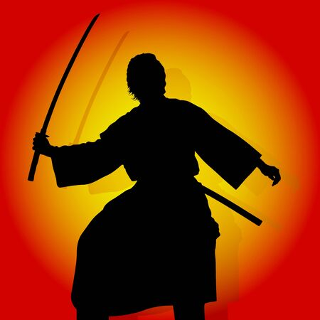 back lit: Samurai - Black Silhouette And Colored Background