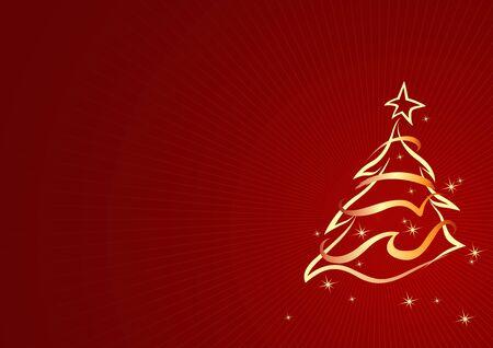 xmas tree: Gold Abstract Xmas Tree - Christmas Background Illustration