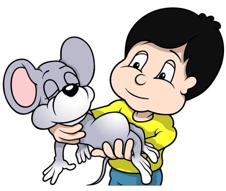 raton caricatura: Boy Holding Dormir Ratón - Ilustración de dibujos animados Vectores