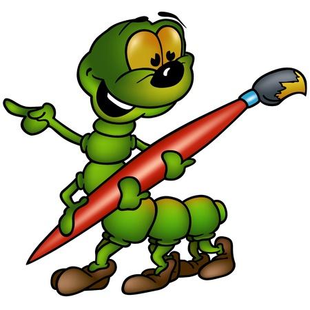 caricaturas de animales: Pintor Centipede - dibujos animados de ilustración Vectores
