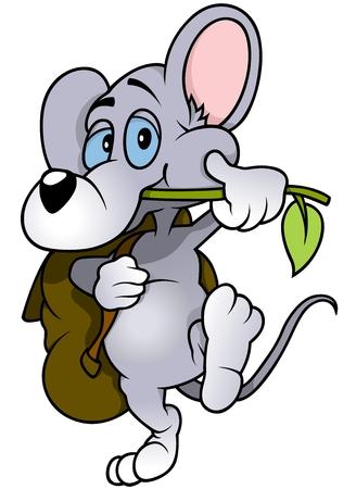 Walking Mouse - Cute Cartoon Animal, Vector Vector