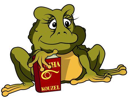 spell: Frog And Book Of Spell - Cartoon Illustration, Vector
