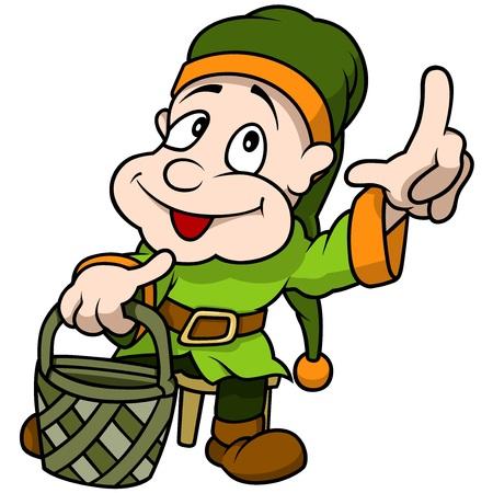 Green Elf Holding Basket - Cartoon Illustration, Vector