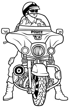 a white police motorcycle: Road Police - Hand Drawn Illustration, Vector Illustration