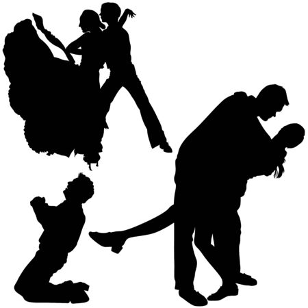 couple lit: Dance Silhouettes - Black Illustrations With Classic Dance, Vector Illustration