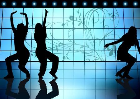 temperamento: Muchachas de baile en un fondo azul - ilustraci�n de color, Vector