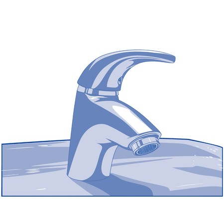 basin: Blue Faucet - Colored Illustration, Vector