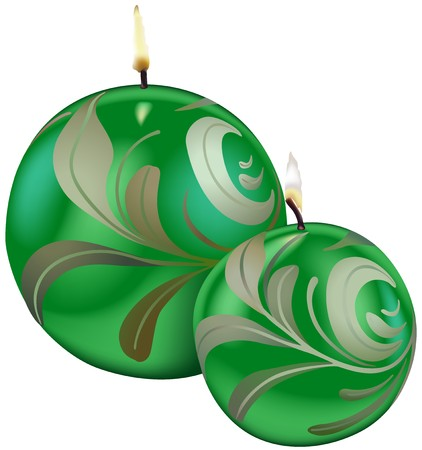 wax glossy: Green Christmas Candles - Colored Illustration, Vector