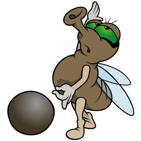 Fly Playing Marbles - Colored Cartoon Illustration, Vector