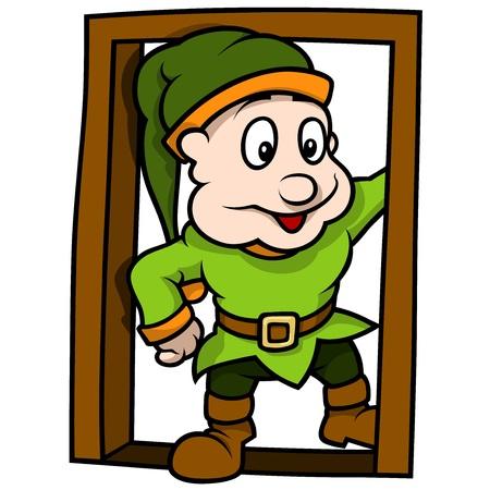 green elf: Green Elf At The Door - Cartoon Illustration, Vector