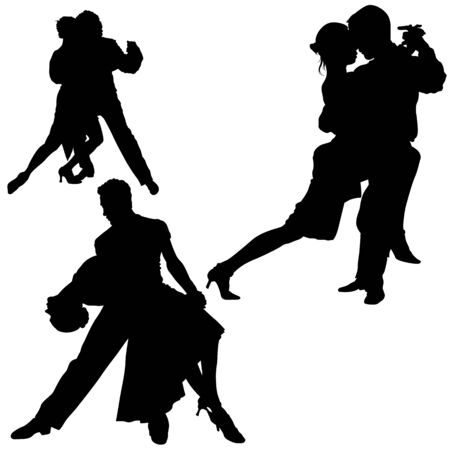 tango dance: Dance Silhouettes - Black Illustrations And Classic Dance.