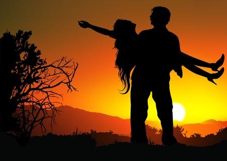 innamorati che si baciano: Romantic Love - Sfondo a colori Illustrazione.