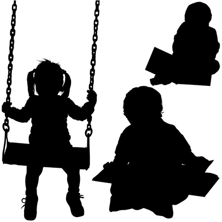 Preschoolers - Black Children Silhouettes. Vector
