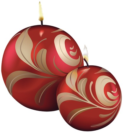wax glossy: Red Christmas Candles - Colored Illustration.