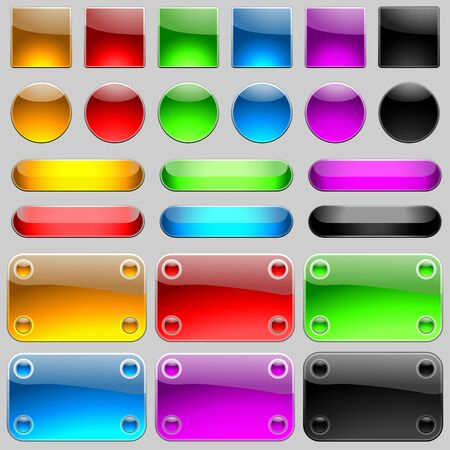 Glossy Buttons Set - Colored Illustration, Vector Vector