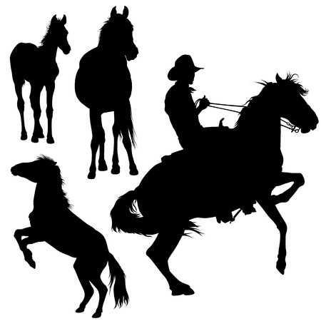 馬シルエット コレクション - 黒イラスト ベクトル