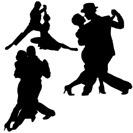 couple lit: Dance Silhouettes - Black Illustrations And Classic Dance, Vector