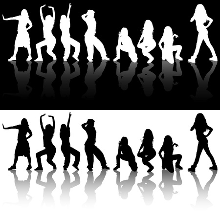 reflections: Dancing Girls Silhouettes - Illustrations And Reflections, Vector Illustration