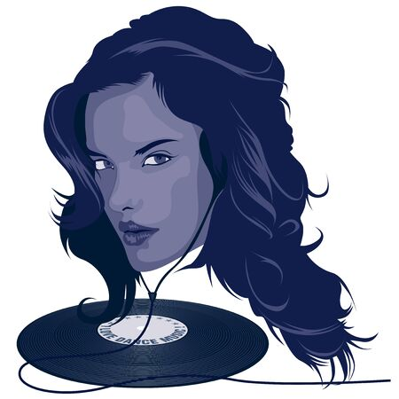 dee jay: DJ Girl - Colored Illustration, Vector